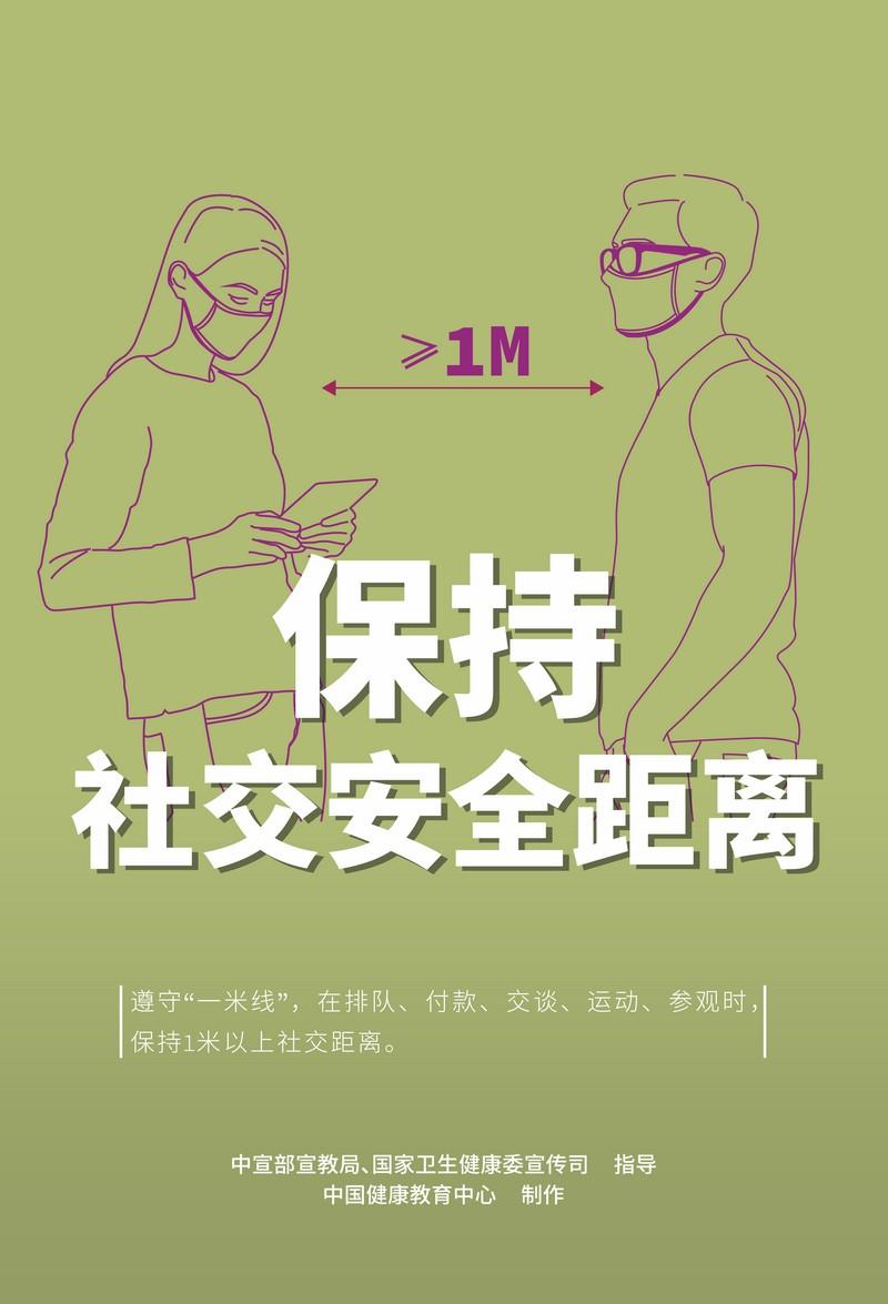 新冠肺炎疫情防护知识宣传海报:保持社交安全距离